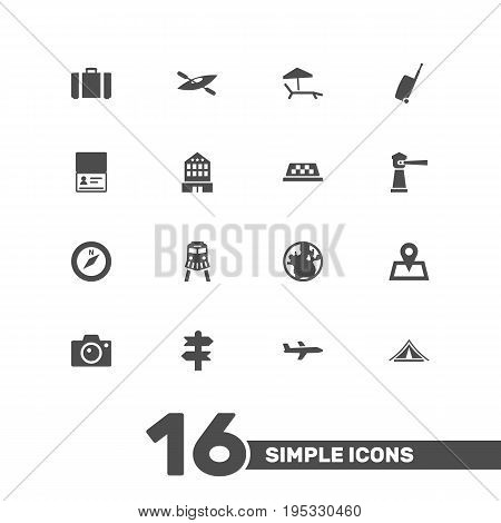 Set Of 16 Travel Icons Set.Collection Of Photo Apparatus, Seamark, Canoe And Other Elements.