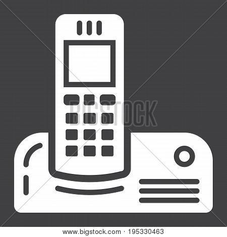 Wireless telephone solid icon, household and appliance, vector graphics, a filled pattern on a black background, eps 10.