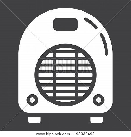 Electric fan heater solid icon, household and appliance, vector graphics, a glyph pattern on a black background, eps 10.