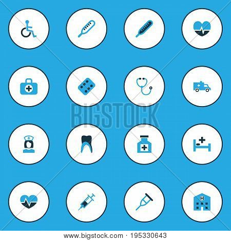Medicine Colorful Icons Set. Collection Of Care, Thermometer , Handicapped Elements. Also Includes Symbols Such As Servant, Heart, Disabled.