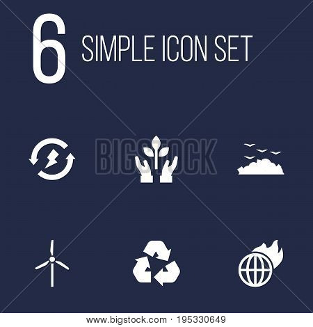 Set Of 6 Ecology Icons Set.Collection Of Cleaning, Warm, Fan And Other Elements.