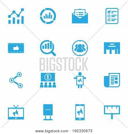Set Of 16 Trade Icons Set.Collection Of Customer Summary, Statistics, Share And Other Elements.