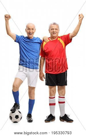 Full length portrait of two elderly soccer players gesturing happiness isolated on white background