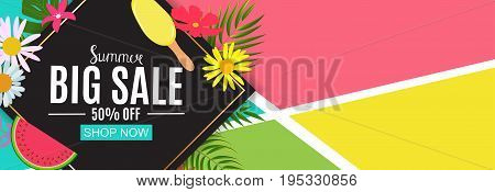 Summer Sale Abstract Banner Background Vector Illustration EPS10