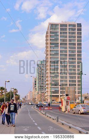 TEL AVIV ISRAEL- APRIL 2017: Herbert Samuel st. bike track and walking area for pedestrians in the center of Tel Aviv