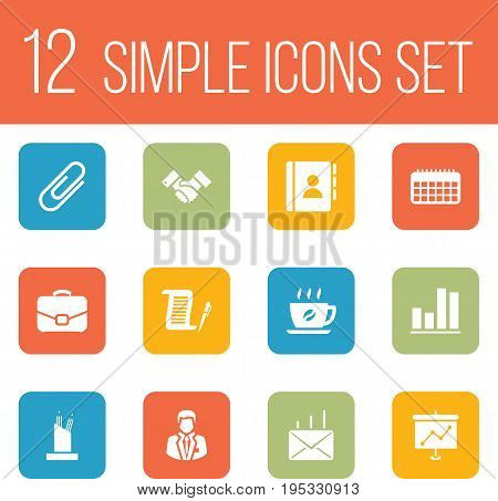 Set Of 12 Cabinet Icons Set.Collection Of Coffee, Diplomat, Address Book And Other Elements.