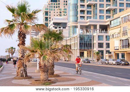 TEL AVIV ISRAEL- APRIL 2017: Herbert Samuel st. bike track and walking area for pedestrians in the center of Tel Aviv.