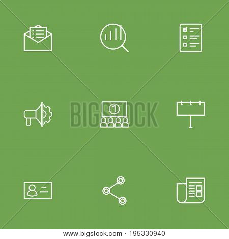Set Of 9 Advertising Outline Icons Set.Collection Of Audience, Email Promotion, Research And Other Elements.