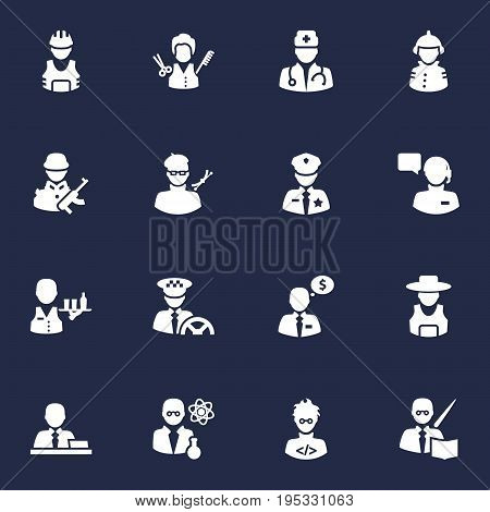 Set Of 16 Job Icons Set.Collection Of Money Agent, Leaner, Fireman And Other Elements.