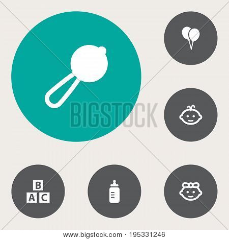 Set Of 6 Baby Icons Set.Collection Of Maraca, Milk, Girl And Other Elements.