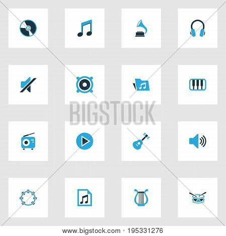 Multimedia Colorful Icons Set. Collection Of Playlist, Note, Mute And Other Elements. Also Includes Symbols Such As Timbrel, Play, Instrument.