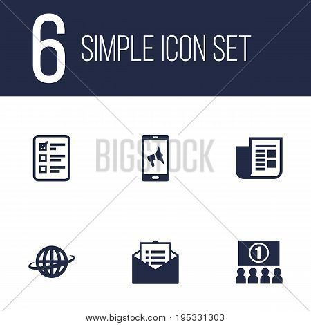 Set Of 6 Advertising Icons Set.Collection Of Customer Summary, Application, Journal And Other Elements.