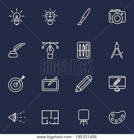 Set Of 16 Constructive Outline Icons Set.Collection Of Dividers, Graphic Tablet, Vision And Other Elements.