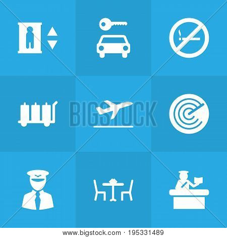 Set Of 9 Airplane Icons Set.Collection Of Lift, Radiolocator, Leaving And Other Elements.