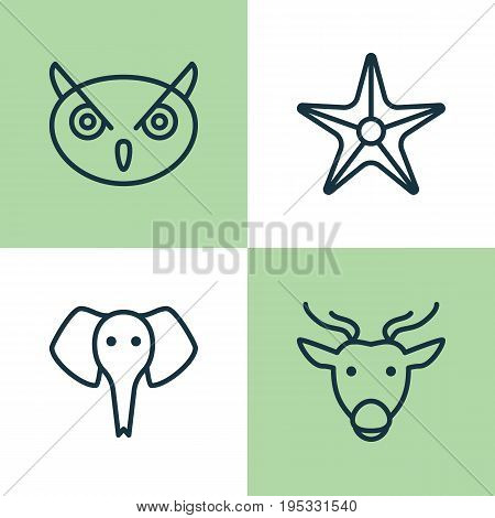 Zoology Icons Set. Collection Of Starfish, Trunked Animal, Moose And Other Elements. Also Includes Symbols Such As Trunked, Star, Reindeer.