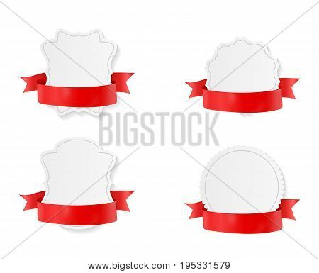 Card with Gold Ribbon and Bow Set. Vector illustration EPS10