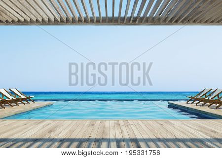 Wooden pier with rows of white and wooden deck chairs near a pool. Ocean. Cloudless sky. 3d rendering mock up