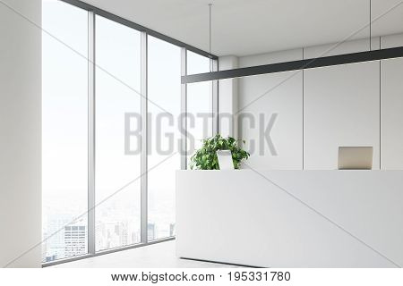 White office interior with a reception desk standing near a loft window in an office lobby with glass walls and a meeting room. Side view. 3d rendering mock up