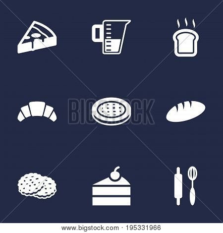 Set Of 9 Pastry Icons Set.Collection Of Cake, Whisk, Sweetmeat And Other Elements.