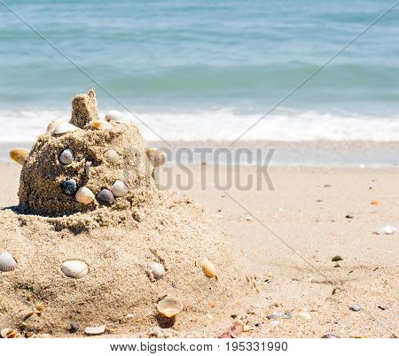 Cutie from the sand on the shore of the beautiful sea summer season