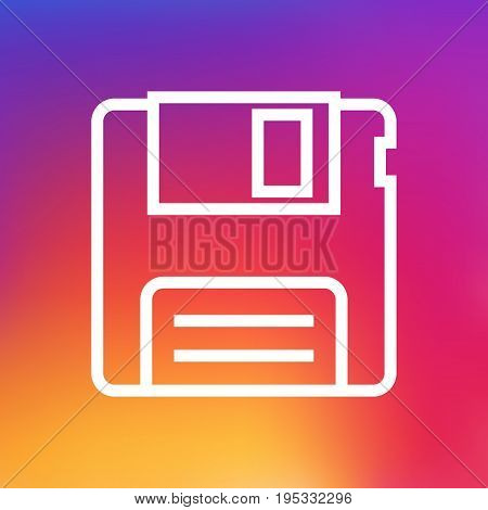 Isolated Diskette Outline Symbol On Clean Background. Vector Floppy Element In Trendy Style.
