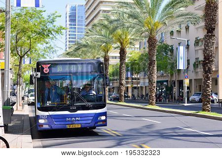 TEL AVIV ISRAEL - APRIL 2017: Modern shuttle on the streets of Israel cities. Bus transport Tel Aviv.