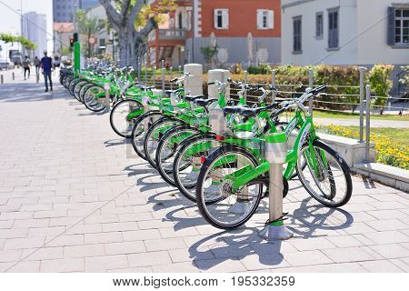 TEL AVIV ISRAEL- APRIL 2017: Parked bicycles in center of Tel Aviv.Tel-O-Fun is a bicycle sharing service which provided by the city including 125 active stations.