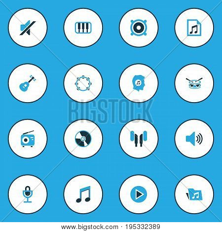 Multimedia Colorful Icons Set. Collection Of Volume, Folder, Radio And Other Elements. Also Includes Symbols Such As Vinyl, Folder, Dossier.