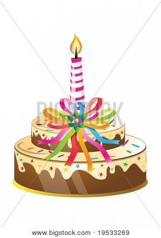 Birthday cake and candle with colorful ribbons.Vector Illustration. poster