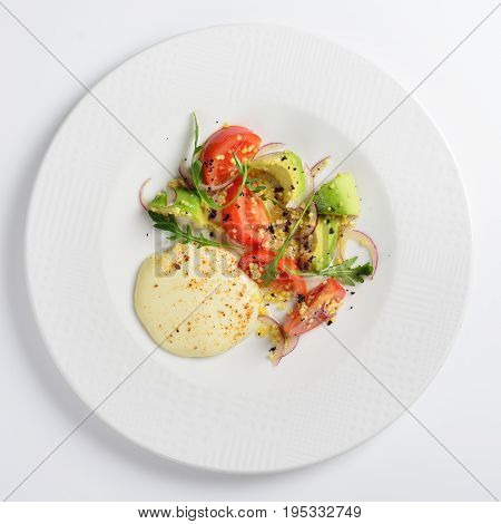 Fried suluguni with tomatoes and avocado. White background menu concept.