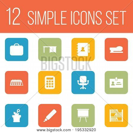 Set Of 12 Office Icons Set.Collection Of Book, Airchair, Calculate And Other Elements.