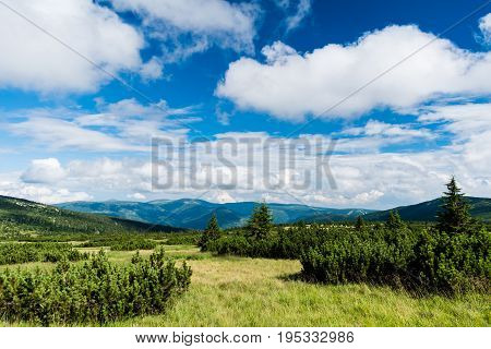View of National Park Krkonose (Giant Mountains) from area around Labska Louka.