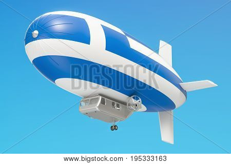 Airship or dirigible balloon with Greek flag 3D rendering