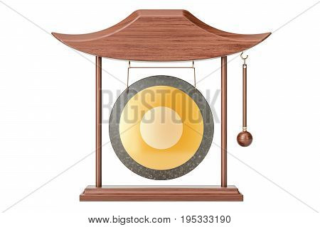 Gong hanging in a frame 3D rendering isolated on white background
