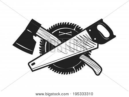 Woodwork, joinery, carpentry logo or icon. Vector illustration isolated on white background