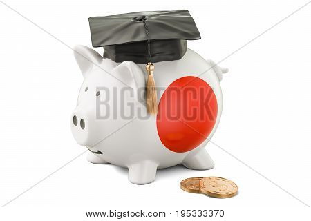 Savings for education in Japan concept 3D rendering isolated on white background