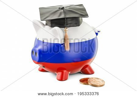 Savings for education in Russia concept 3D rendering isolated on white background