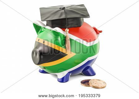 Savings for education in South Africa concept 3D rendering isolated on white background