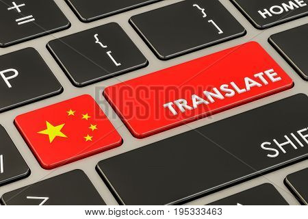 Translate concept on keyboard with Chinese flag 3D rendering