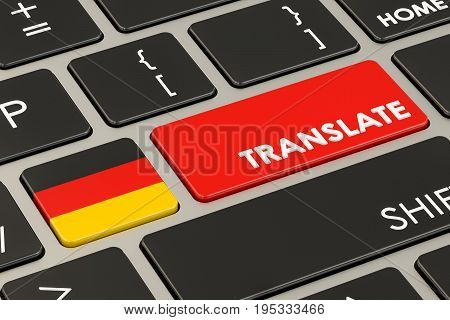 Translate concept on keyboard with German flag 3D rendering