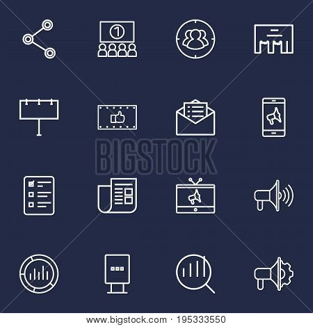 Set Of 16 Advertising Outline Icons Set.Collection Of Mobile Marketing, Tv, Stand Elements.