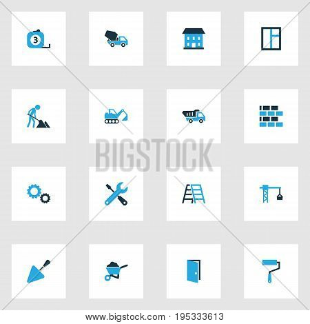 Building Colorful Icons Set. Collection Of Gear, Glass, Tip Truck And Other Elements. Also Includes Symbols Such As Construction, Masonry, Hook.
