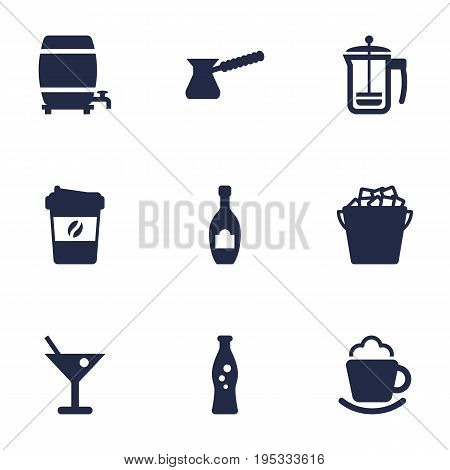 Set Of 9 Beverages Icons Set.Collection Of Alcohol, Fridge, Espresso And Other Elements.