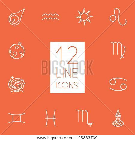 Set Of 12 Astrology Outline Icons Set.Collection Of Galaxy, Sun, Cancer And Other Elements.