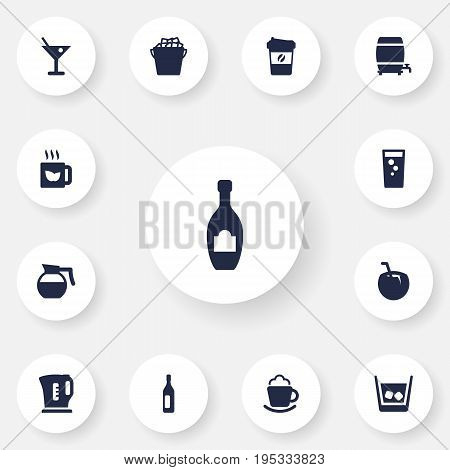 Set Of 13 Beverages Icons Set.Collection Of Martini, Cognac, Green Tea And Other Elements.