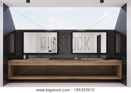 Black Tiled Bathroom Interior, Two Sinks