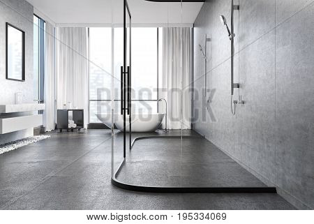 Gray Concrete Bathroom, Shower
