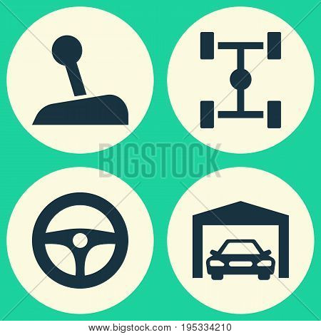 Automobile Icons Set. Collection Of Wheelbase, Drive Control, Repairing And Other Elements. Also Includes Symbols Such As Steering, Car, Gear.