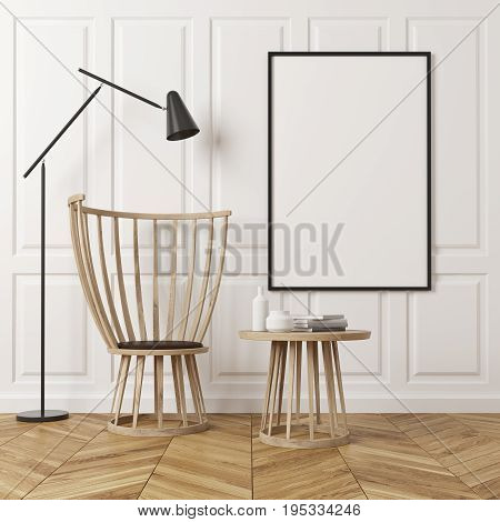Empty room interior with white rectangular pattern walls and a wooden floor. There is a wooden coffee table and a chair a poster on a wall and a black lamp. 3d rendering mock up