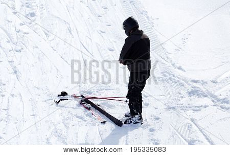 Skier skiing in the snow in winter